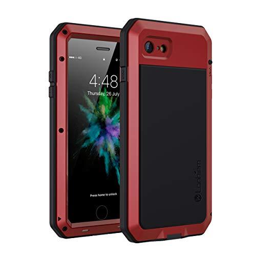 Lanhiem für iPhone SE 2020 Hülle, iPhone 8 Hülle, 360 Grad Outdoor Schutzhülle Stoßfest Tough Armor Metall Panzerhülle Heavy Duty iPhone 7 Handyhülle mit Eingebautem Displayschutz, Rot