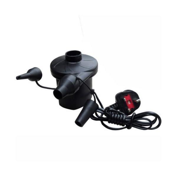 Bomba de aire eléctrica Unibos para hinchar colchones o piscinas con una corriente de 240V, un enchufe de tres clavijas y tres boquillas 1