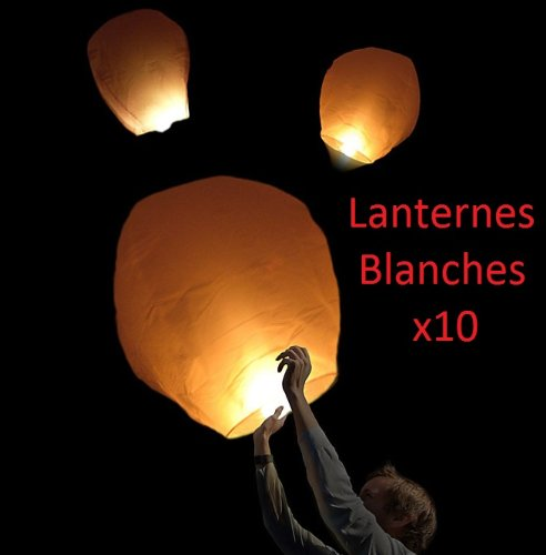 pequeño y compacto Partylandia Store 10LANT_FR – Lotes de 10 linternas voladoras, blancas