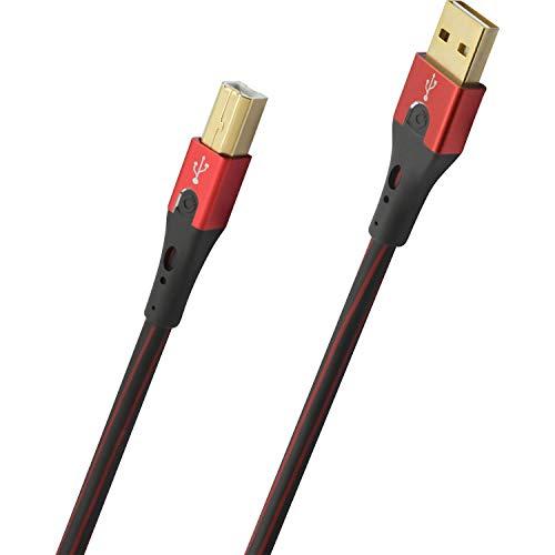 Oehlbach USB-Evolution B - hochwertiges USB-Kabel Typ 2.0 USB-A auf USB-B (für Audio-Streaming, DAC und Drucker) schwarz/rot - 3m