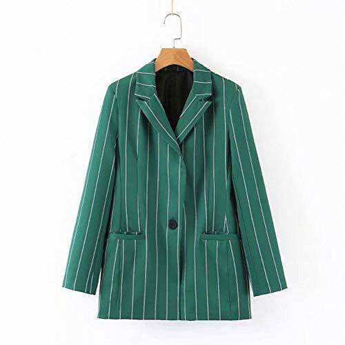 W-C Lapel lange mouw Groen Gestreept Een Knop Decoratieve Casual Blazer Vrouwen, Groen, M