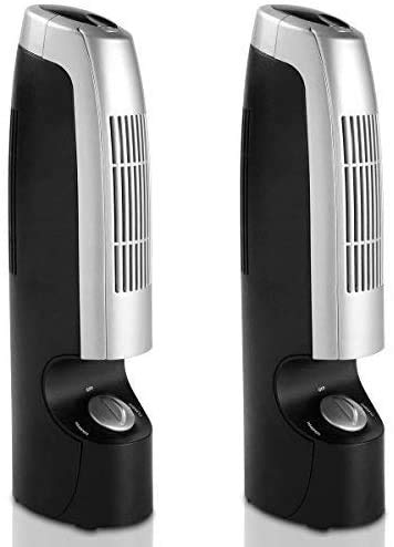 air purifier with new whispers GOFLAME Air Purifier 2 PCS for Dust, Pets, Smoke, Odors, Air Cleaner with Whisper 2 Speed Operations, Silver and Black