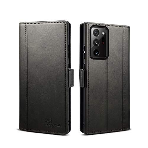 Rssviss Samsung Galaxy Note 20 Ultra Hülle, Handyhülle Samsung Note 20 Ultra [3-Kartenfächer] PU Leder Flip Hülle Note 20 Ultra [Magnetverschluss] [Standfunktion] Note 20 Ultra Tasche 6,9'' Schwarz