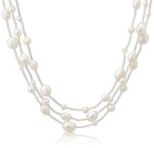 [ピュアパール] Pure Pearl 淡水パール&ガラスビーズ ステーション ネックレス ホワイト PP1816N-WH