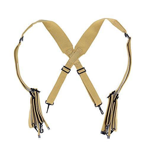 OLEADER WW2 US Army M1936 Suspenders WWII Standard X Strap Combat Cotton Webbing (Khaki)