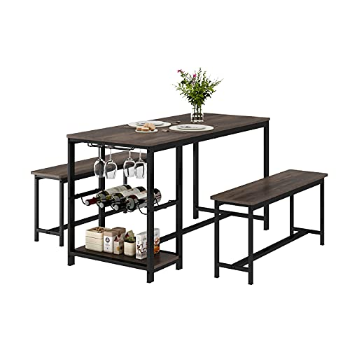 Kitchen Table and Bench for 4, Rustic Wood Dining Room Table Set, Breakfast Nook Table with, Hooks, Wine Rack and Glass Holder, Dark Brown
