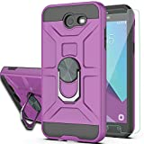 Galaxy J3 Prime/J3 2017/J3 Eclipse/J3 Emerge/J3 Mission/J3 Luna Pro/Express Prime 2/Amp Prime 2 Case with HD Screen Protector YmhxcY 360 Degree Ring of Shockproof Phone Case for J3 2017-ZS Purple