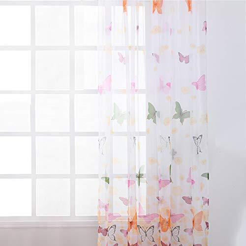 Jodimitty Stickerei Gardine Vorhang, 200x100cm Schmetterling Muster Halbtransparent Vorhänge, Voile Gardinen Modernen Wohnstil Sheer Gardinen für Wohnzimmer Schlafzimmer Kinderzimmer