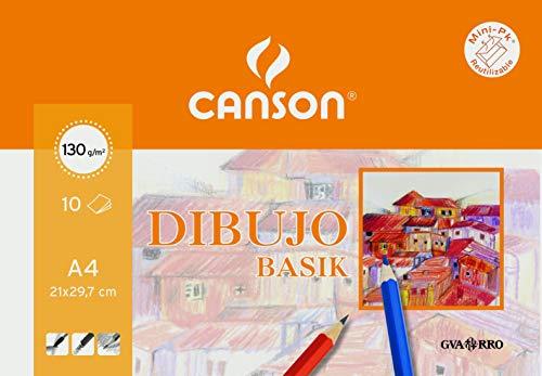 Minipack A4, 10 Hojas, Guarro Dibujo Basik Liso 130G, Blanco