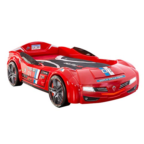 Cilek BiTurbo Twin Kids Car Bed Frame For Boys from 2 to 12 Remote Controlled, LED Headlights, Engine Sound, License Plate, Red