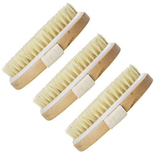 SIMUER 3 Pieza Cepillos de cuerpo, Cepillo Exfoliante Cepillo de Piel Seca Baño Cepillos Corporales Cerdas Naturales Eliminar piel Muerta y Toxinas Tratamiento de Celulitis Obtener Piel Suave
