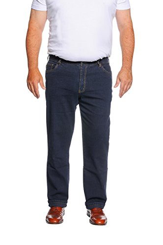MARINA DEL REY Herren 5-Pocket Jeans Regular FIT Stretch in Übergröße, Dunkelblau, 62