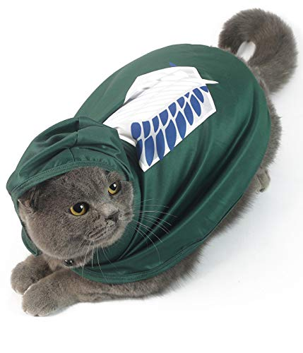 Impoosy Pet Costume Funny Cape Cat Clothes Cloak Anime Scout Soldier Hoodies Cosplay Cope for Small Dogs Cats Outfits (Medium)