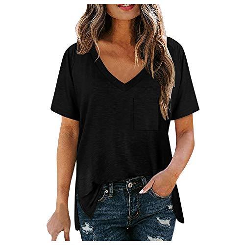 KYZRUIER Camiseta de verano de manga corta para mujer, suelta, casual, cuello en V, color sólido, con bolsillos