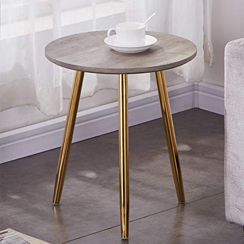 GOLDFAN Retro Wood Side End Table for Sofa Small Round Morden Coffee Table with Gold Metal Legs for Living Room,Oak