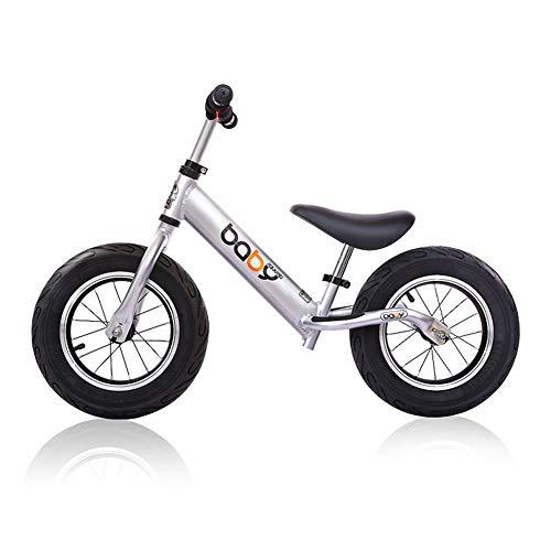 RR-Bike Bicicleta Deportiva para Niños, Andadera para Bebés, Sin Pedal, con Manillar Y Asiento Ajustables para Niños Pequeños De 18 Meses A 6 Años,Silver