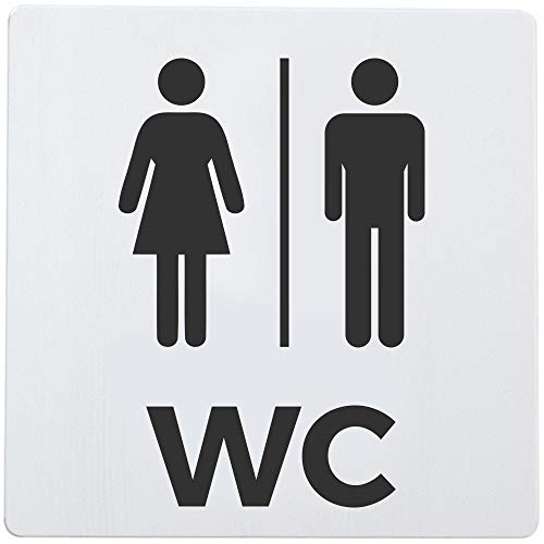 Bamodi XXL WC Schild selbstklebend - Toilettenschild Damen und Herren - Eindeutiges und einfach anzubringendes Toilettenschild WC Aluminium - 12,5 x 12,5 x 0,15 cm