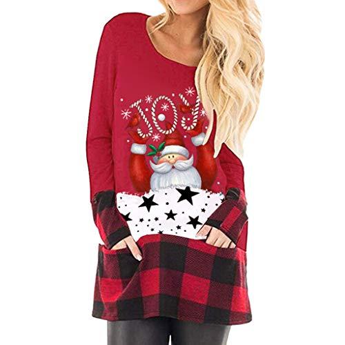 Lulupi Camicia Natalizia Donna Felpa Lunga Donna Tumblr Ragazza Maglione con Tasca A Marsupio Stampa di Babbo Natale Schema di Cuciture A Quadri Pullover Sweatshirt S-5XL