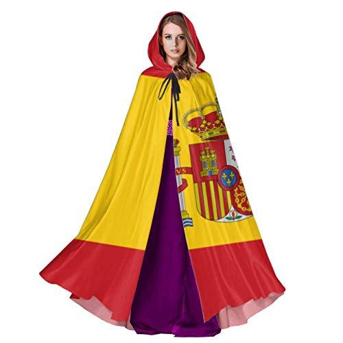 Rtosd Alta Detallada Bandera España Capa Capas Hombres Capa con Capucha 59 Pulgadas para Navidad Disfraces de Halloween Cosplay