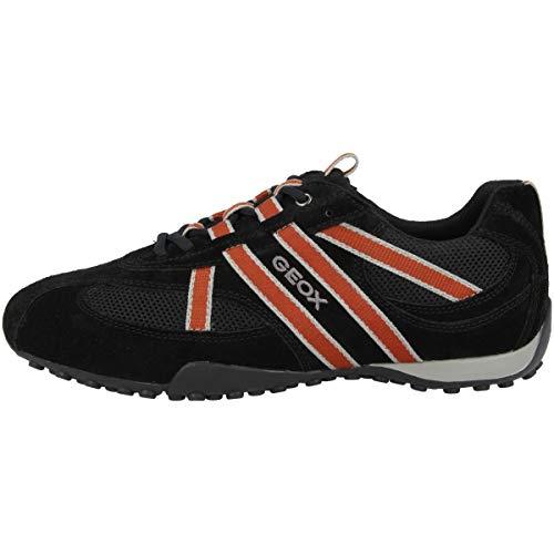 Geox U2207S Snake Sportlicher Herren Sneaker, Schnürhalbschuh, Freizeitschuh, atmungsaktiv, lose Einlegesohle,  39 EU,  Schwarz Grey Orange