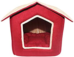 Mellifluous Dog and Cat Foldable House/Hut, Brown-Black
