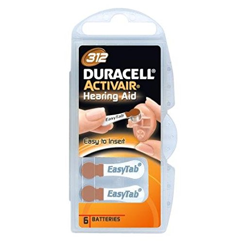 DURACELL 4 Blisterpackungen mit jeweils 6 Batterien auditive ACTIVAIR Easytab DA 312 (4er Set)