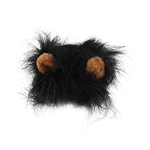 Disfraz de Mascota, Peluca de Melena de len para Gato, Disfraz de Fiesta de Navidad de Halloween con Oreja (Negro M)
