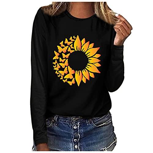 Blusa de manga larga para mujer, diseño de girasol, para otoño, invierno, primavera, informal, con cuello redondo, E negro., L
