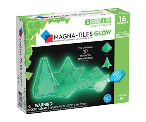 Magna-Tiles Glow In The Dark Set, The Original Magnetic Building Tiles For Creative Open-Ended Play, Educational Toys For Children Ages 3 Years + (16 Pieces + LED Light Included)