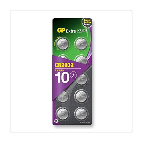 GP Extra Lithium Knopfzellen CR2032 3V, 10 Stück Knopfbatterien CR 2032 3 Volt