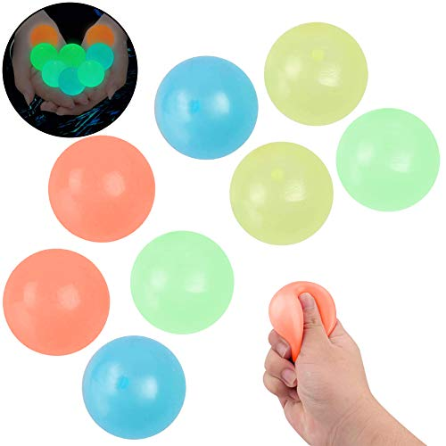 8 Pezzi Palline Antistress da Parete,Sticky Balls,Pallina Giocattoli Antistress,Palle Antistress Appiccicose,Giocattoli...