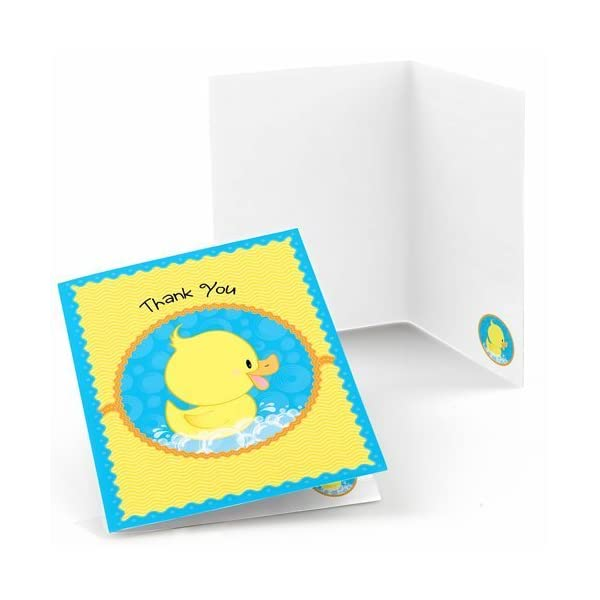 Big Dot of Happiness Ducky Duck – Baby Shower or Birthday Party Thank You Cards (8 Count)