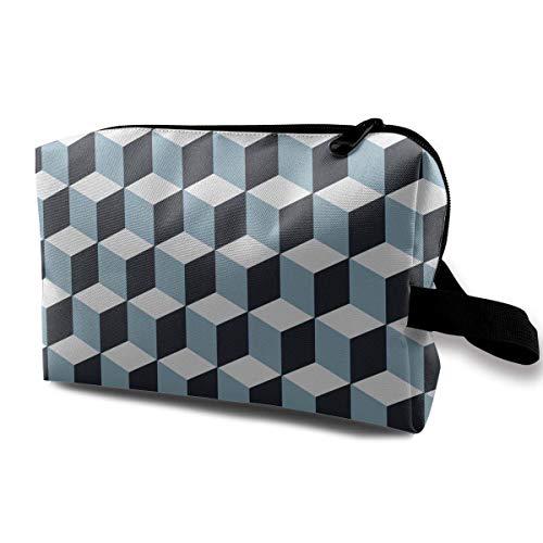 Retro Cube Pattern Storage Bag Travel Receive Bag Pouch Wallet
