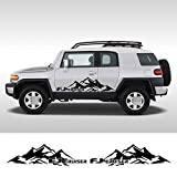 MVMTVT 2PCS Car Styling Mountain Decals Door Side Trim Stickers for Toyota FJ Cruiser Auto Body Decor Graphics Vinyl Decals Accessories