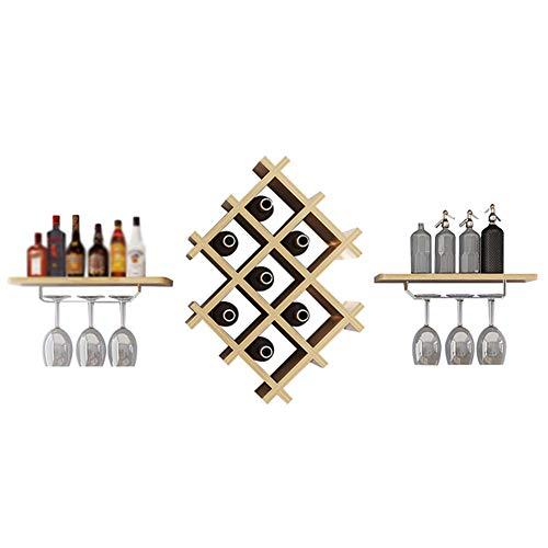 YANZHEN-Botellero para Para Montado En La Pared con Estante Diseño En Forma De Nido De Abeja Multifunción Sencillo Y Moderno con Paneles De Madera, 2 Estilos (Color : Beige#1, Tamaño : 129x20x36cm)