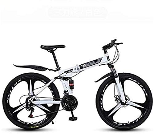 HCMNME Bicicleta Duradera Bicicleta de montaña for Adultos, Marco de Bicicletas Plegables de Acero al Carbono de Alta, Completa Bicicletas MTB Suspension, Doble Freno de Disco, PVC Pedales CU