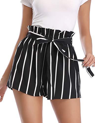 PEIQI High Waisted Shorts for Women Striped Ruffle Elastic Waist Summer Beach Short with Pockets Belt Black Large