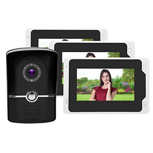 Videoportero WiFi con Pantalla LCD TFT 1080P HD de 7 Pulgadas, 3 monitores Interiores y 1 Timbre con Video, Sistema de Seguridad para el hogar con Entrada remota(yo)