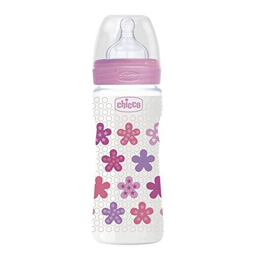 Chicco Wellbeing - Biberón antcólicos con tetina de silicona y flujo rápido para bebé 4m+, 330 ml, color rosa
