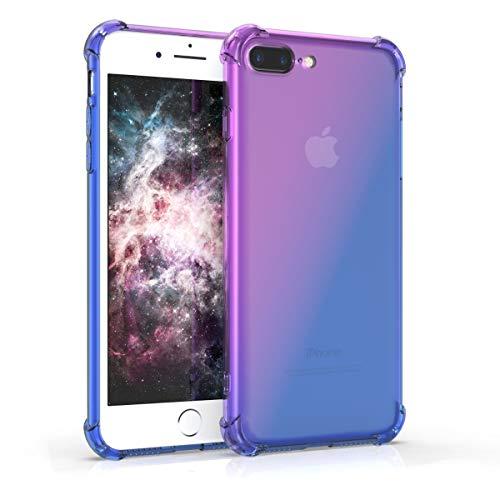 kwmobile Cover Compatibile con Apple iPhone 7 Plus / 8 Plus - Custodia in TPU Silicone per Cellulare - Sfumature Diagonali Viola/Blu/Trasparente