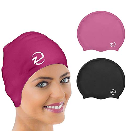 ZJema Large Long Hair Silicon Swimming/Shower Cap for Men & Women – Swim Cap for Very Long, Thick, Curly, Voluminous Hair, Weaves, Extensions – Designed to Protect Hair, Size Large