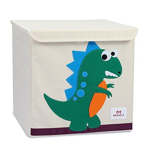Meshela Aufbewahrungsbox und Organisator für Kinderspielzeug,Cartoon Aufbewahrungswürfel Leinwand faltbare Spielzeug Aufbewahrungsbox(Dinosaurier)