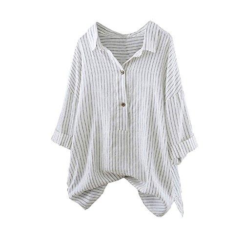 ESAILQ Damen Fledermaus Kurzarm beiläufige lose obere dünne Abschnitt Bluse T-Shirt Pullover (M, Weiß-1)