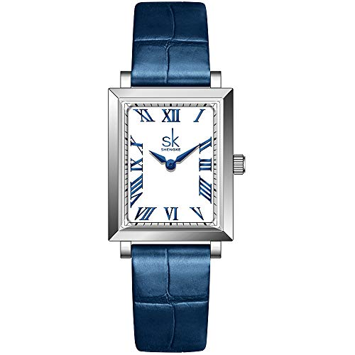 SK Classic Rectangle Women Watch with Genuine Leather Stainless Steel Mesh Band Elegant SquareLadies Watch (Roman Number-Leather-Blue)