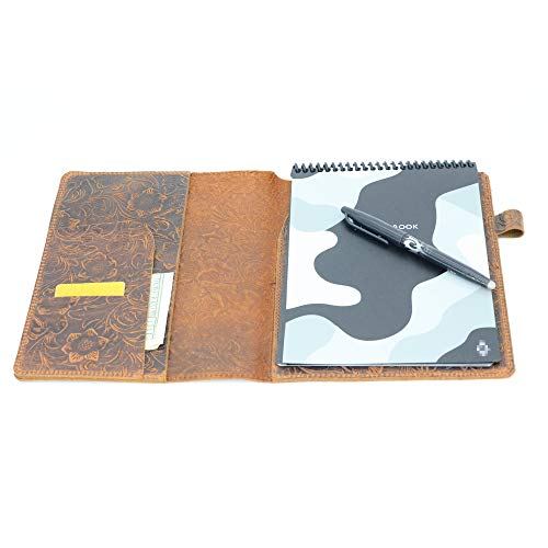 JJNUSA Compatible with Rocketbook Flip Cover Smart Business Handmade Distressed Genuine Leather Notebook Cover Flowerbrown Executive 6' x 8.8'