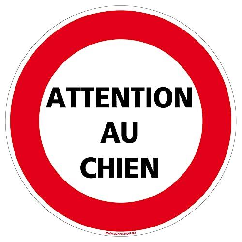 Panneau Attention Au Chien - Diamètre 170 mm, Plastique PVC 1 mm