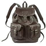 Großer Lederrucksack Größe L/Laptop Rucksack bis 15,6 Zoll, für Damen & Herren, aus Leder, Braun, Hamosons 560