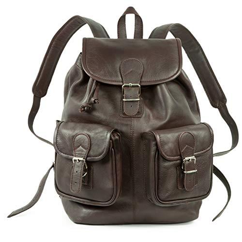 Großer Lederrucksack Größe L Laptop Rucksack bis 15,6 Zoll, für Damen und Herren, aus Leder, Braun, Hamosons 560