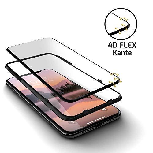GLAZ Hybrid geeignet für iPhone XR Panzerglas, Schutzfolie, Curved, Mit Applikator, Staubfrei, Notch Unsichtbar, Premium Panzerfolie, Full Cover Displayschutz, 100% Passgenau