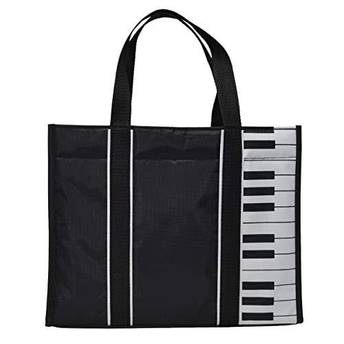 Klaviertasten Musik-Einkaufstasche Wasserdichte Oxford-Stoffhandtasche Schultertasche Einkaufstasche mit Magnetverschluss
